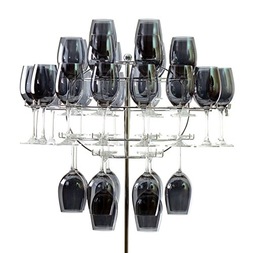 10 Strawberry Street Wine Glass Chandelier with Stand, Holds 40 Wine Glasses, Stainless Steel