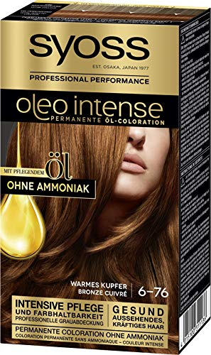 Syoss Oleo Intense Permanente Öl-Coloration 6-76 Warmes Kupfer, mit pflegendem Öl & ohne Ammoniak, 3er Pack(3 x 115 ml)