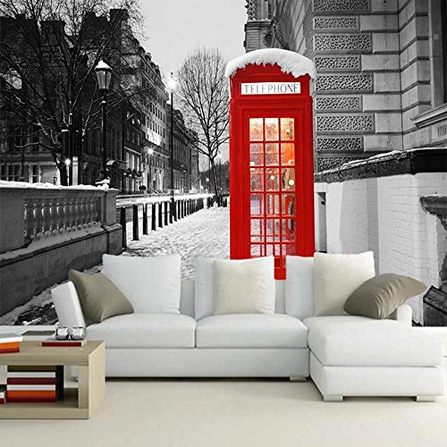 London Phone Booth 3D Wallpaper,Living Room TV Wall Bedroom Wall Papers Home Decor Restaurant Bar Mural 140(l) x100(H) cm