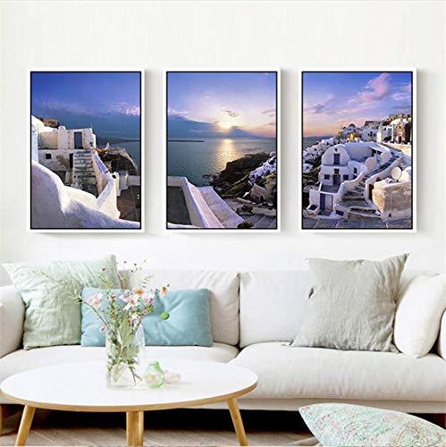 NoNo Mediterrane Landschaft Schöne Santorini Leinwand Malerei Wandplakat für Wohnkultur Hochzeitsbevorzugung Kunst Bild 40cmx60cmx3 STK.Kein Rahmen