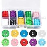 100 Piezas Botones de Resina Redondo Botones de Colores Grandes Botones con 4 Agujero con...