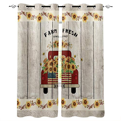 "BMALL Grommet Window Curtains Panels Red Truck Car with Sunflower and Primitive Berries on Country Wooden Plank Window Curtain 2 Panels for Living, Dining, Bedroom,40"" x 63"""