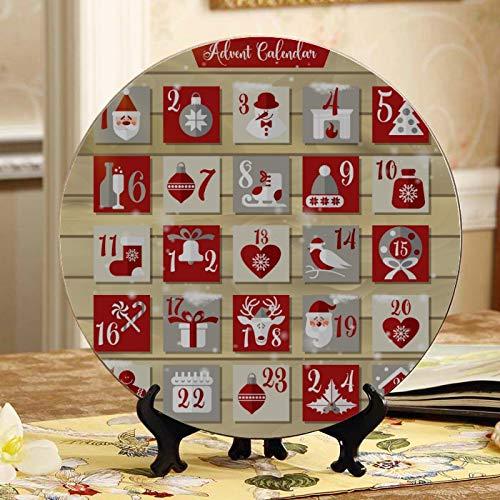Placas lindas del calendario de Adviento de Navidad Placas de cerámica decorativas de colores Placa de oscilación para el hogar con soporte de exhibición Decoración Pantalla para el hogar pa