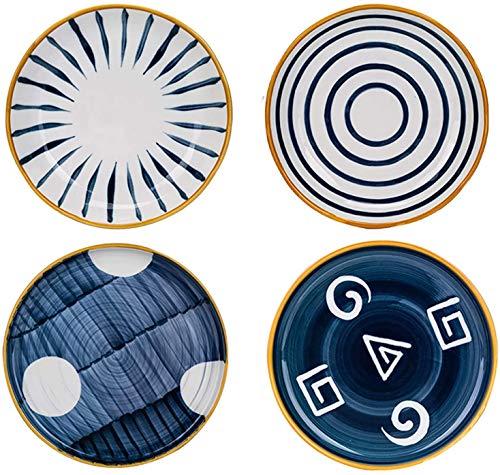 KKGUD Juego de platos redondos de cerámica para pizza, pasta, platos de postre de estilo japonés, juego de 4 (25,4 cm)