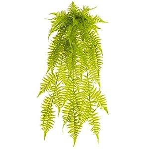"Silk Flower Arrangements SilksAreForever 35"" UV-Resistant Outdoor Artificial Soft Touch PE Boston Fern Plant -Green (Pack of 6)"