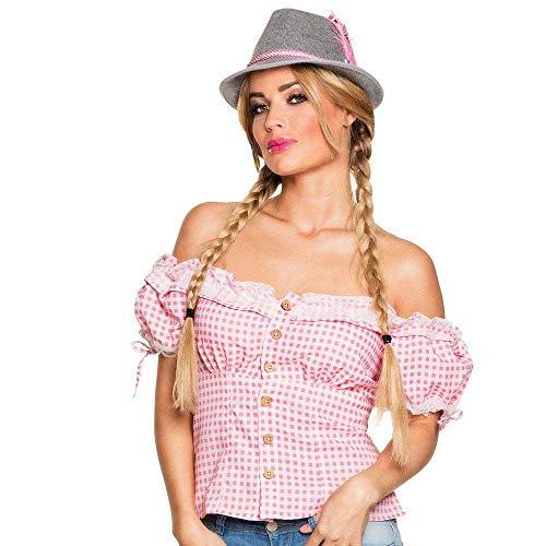 Boland - Trachten-Bluse, verschiedene Größen, für Damen, Dirndl-Top, Rosa-Weiß, Oktoberfest, Kostüm, Karneval, Mottoparty
