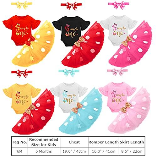 FYMNSI Conjunto de ropa de algodón de manga corta para bebé con tutú de lunares y falda de tul con orejas y diadema, 3 piezas Rojo + negro. 6 Meses
