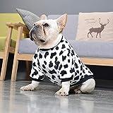 Primavera e Autunno Flanella Bulldog - Peluche pigiama Teddy Corgi British Fighting Pugs Inverno Caldo Dog Clothes-Mucche_M