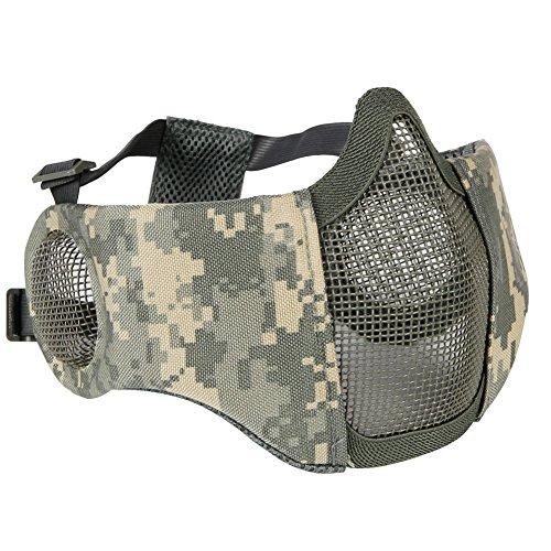 Aoutacc, faltbare Airsoft-Maske, Halbgesicht-Masken mit Ohrschutz für Kriegsspiele, Jagd, Paintball, ACU