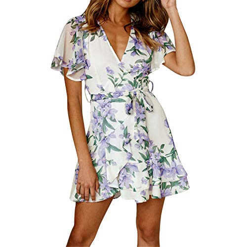 Fainosmny Fashion Womens Dress Holiday Summer Sundress Floral Print Beach Dress V Neck Bandage Tunic Dress Prom Short Dress White