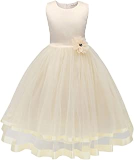 New Children's Dresses for Girls, Flower Girl Dresses, European and American Princess Dresses, Solid Color Belted Dresses (Color : Beige, Size : 160cm)