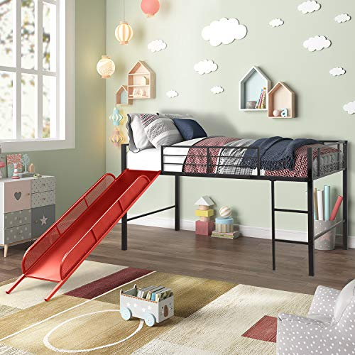 "Twin Metal Loft Bed with Slide, Space-Saving Low Loft Bed for Kids, 43.3"" H x 41.4"" W x 77.2"" L, No Box Spring Needed, Red"
