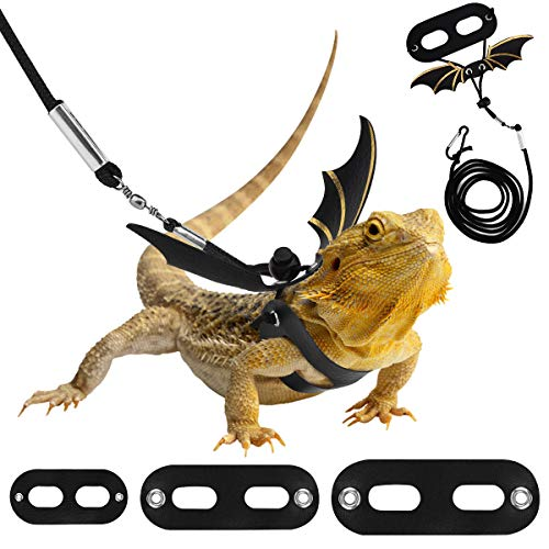 Pawaboo Adjustable Bearded Dragon Harness and Leash, 3 Size Leather Reptile Leash Outdoor Harness Leash with Bat Wings for Lizard Reptiles Amphibians Small Pet Animals, Small/Medium/Large, Black+Gold
