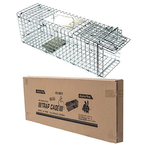 Display4top Animal Trap Cage Trampa de Captura de Animales Vivos, Gatos, Perros, Conejos, roedores (94 x 34 x 37cm)