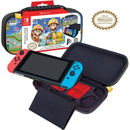 Officially Licensed Nintendo Switch Super Mario Maker 2 Carrying Case - Protective Deluxe Hard Shell Travel Case with Adjustable Viewing Stand - Game Case Included