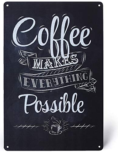 UNIQUELOVER Coffee Bar Sign, Coffee Makes Everything Possible Metal Signs Kitchen Decor and Accessories 8 X 12 Inches, Small