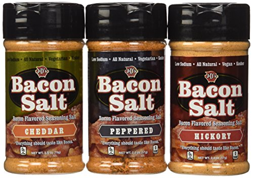 Bacon Flavored Salt Sampler 3 Pack - Cheddar, Peppered & Hickory