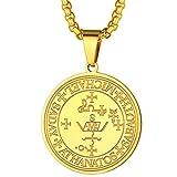 FaithHeart Talismán Enocéano Collar Oro Amarillo 18K Acero Inoxidable Sello Arcángel Miguel Cadena Eslabones Cuadrados