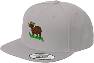 Custom Snapback Baseball Cap Water Buffalo Horn and Grass Embroidery Snaps