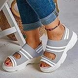 HHZY Sandalias de Punto para Mujeres Cómodas Sandalias con Cuñas Elásticas en El Tobillo Sandalias con Plataforma Zapatillas para Caminar con Punta Abierta y Transpirables,Gris,US6/EU37