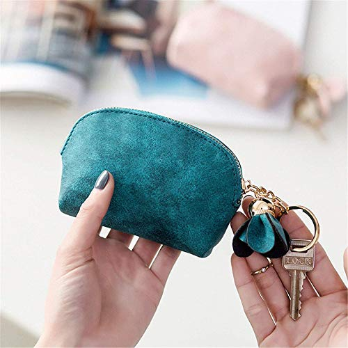 YIJIN Women Small Purse Change Wallet Mini Coin Purses for Ladies Cash Wallets with Key Chain Ring Tassel Zip,Green