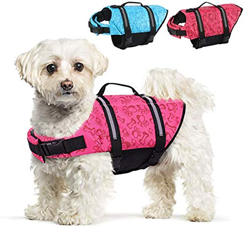 FR&RF Chaleco salvavidas para perro, para natación, barco en la playa con alta flotación para perros pequeños/medianos/grandes, rosa, L