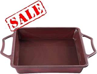 KeepingcooX Square Cake Brownie Pan with Handles, 8 Inch - Nonstick Silicone, Steel Frame to Anti-deformed, Heat Resistant (446℉), Dishwasher, NO BPA