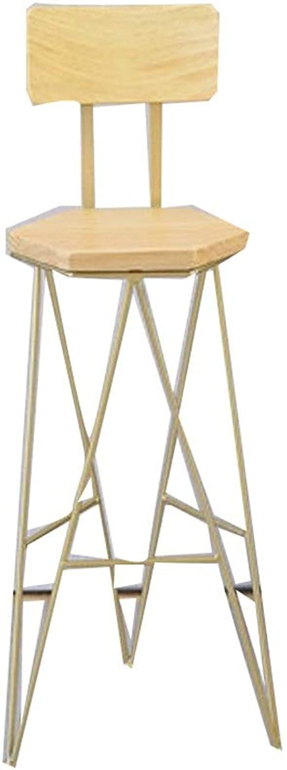 Barstool Nordic bar Stool Home Wrought Iron Simple Modern Front Desk high Chair gold pink gold (color   gold)