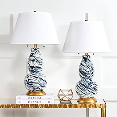 Safavieh Lighting Collection Color Swirls Navy and White 28.5-inch Table Lamp (Set of 2)