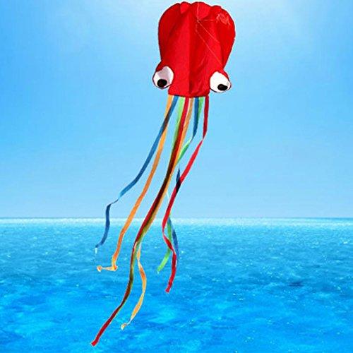 perfeclan Oktopus Drachen Krake Einleiner für Kinder ab 4 Jahren - roter Kopf + Bunte Schwanz