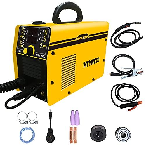 Mig Welding Machine,MYYWELD Mig Welder MIG/MMA/TIG 3 in 1 Flux Core Wire Digital 130D Dual Voltage 110/220V, Gas/Gasless Stick-Solid Wire Automatic Feed IGBT Inverter Welder