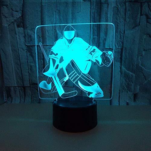Nuevo jugador de hielo 3D Light Hockey Player Colorful Touch 3D Luz visual Regalo creativo Atmósfera 3D Lámpara de mesa pequeña