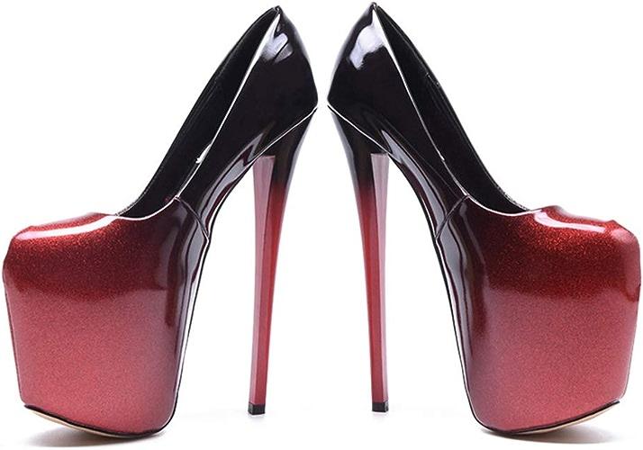 Yanyan Femmes Stiletto Mode Escarpins Chaussures De Nouveauté PU Chaussures à Talons Hauts à Talons Plate-Forme Chaussures De Fête De Mariage & Soirée Discothèque