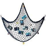 AOFOX - Red azul de pesca decorativa de estilo mediterráneo con conchas, azul, 1.5M x 2M