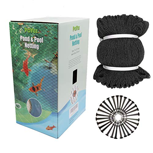 POYEE Pond Netting for Leaves - 28x30 Ft, Pool Leaf Cover Net with Small Fine Mesh - Protecting Koi Fish from Birds, Cats - Stakes Included.