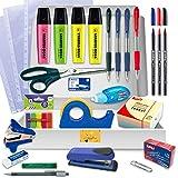 Pack Material Oficina - PS BASICS OFFICE (PREMIUM) - Kit de material Oficina: Subrayadores, Bolígrafos, Corrector Tipp-ex, Cinta Adhesiva, Tijeras, Grapadora. Productos de Papeleria al Mejor Precio