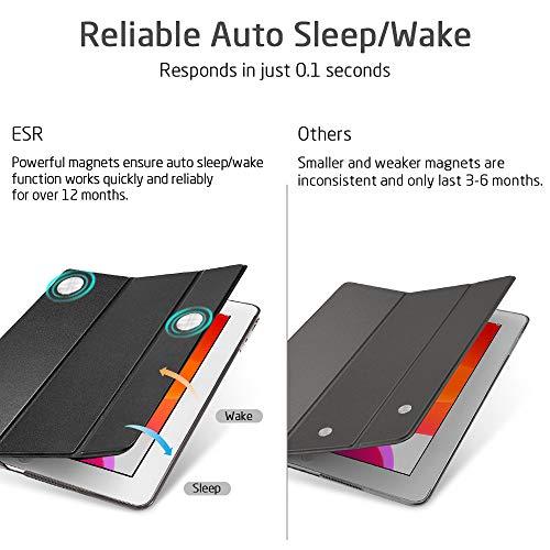 ESRiPad10.2ケース第7世代2019モデルクリア薄型軽量傷防止オートスリープ/ウェイク三つ折りスタンドスマートケースAppleiPad10.2インチ第7世代2019用ハードカバー(ブラック)