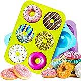 HOUSEGAGA Silikonform Doughnut Silikon Backform Donut Formen-3 Stück Mini Antihaft Donut Silikon Backformen 6er Hohlraum-Safe Backblech für Fondant Donut Muffins, 26,5x18x3,5cm (Blau&Grün&Violett)