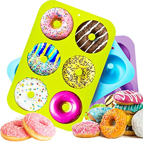 HOUSEGAGA Silikonform Doughnut Silikon Backform Donut Formen-3 Stück Mini Antihaft Donut Silikon Backformen 6er Hohlraum-Safe Backblech für Fondant Donut Muffins, 26,5x18x3,5cm (Blau&Grün&Violett)