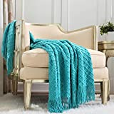 CREVENT Boho Crochet Throw Blanket for Couch Sofa Chair Bed Decoration, Gift Idea for Girlfriend Mom Birthday, Soft Warm Cozy Light Weight for Spring Summer (50''X60'' Aqua Blue / Teal)