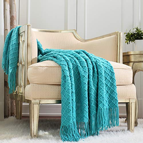 CREVENT Boho Crochet Throw Blanket for Couch Sofa Chair Bed Decoration, Gift Idea for Girlfriend Mom Birthday, Soft Warm Cozy Light Weight for Spring Summer (127cmX152cm Aqua Blue / Teal)
