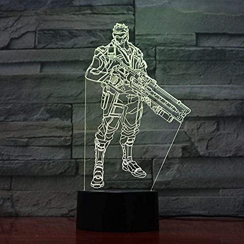 Lámpara de ilusión 3D, luz de noche Led, lámpara de soldado de Anime Overwatch, regalo para niños, animadores, muebles de oficina para dormitorio