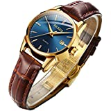 Business Leather Women Watches-OLEVS Ladies Dress Analog Quartz Date Classic Luminous Blue Dial Brown Leather Strap 3ATM Waterproof Female Wrist Watch
