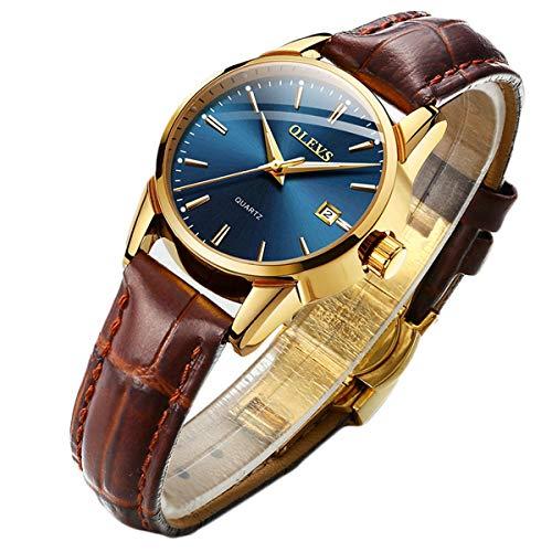 Reloj analógico clásico de cuarzo analógico para hombres y mujeres, esfera de color negro/azul/blanco 3 ATM resistente al agua, Femenina: esfera azul.