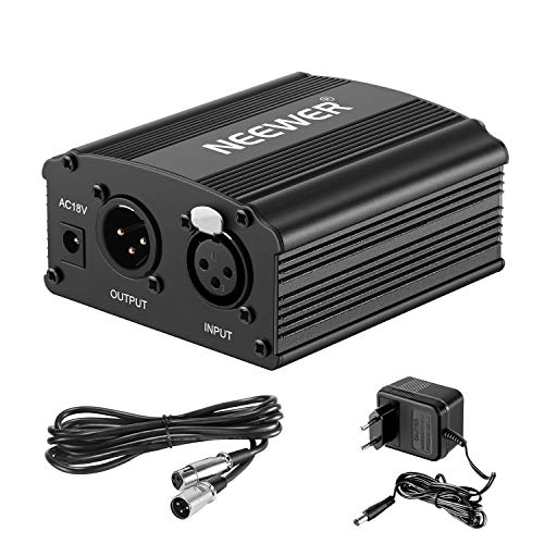 Neewer 1-Canal Phantom 48V Alimentación Suplimiento Negro con Adaptador y Cable de Audio XLR para Caulquier Micrófono Condensador Músico Equipo de Grabación