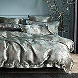 Set di biancheria da letto 200 x 220 cm, verde e grigio con dente di leone, jacquard, copripiumino di alta qualità, in microfibra satinata, set di biancheria da letto double-face, federa 80 x 80 cm