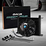 Universal 7' Electric Cooling Fan + 15 ROW 10AN Aluminum Engine Transmission Oil Cooler Kit Black