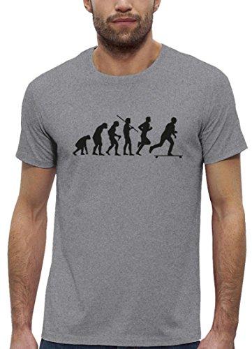 Longboarder Premium Herren T-Shirt aus Bio Baumwolle Evolution Longboard Stanley Stella, Größe: M,Heather Grey