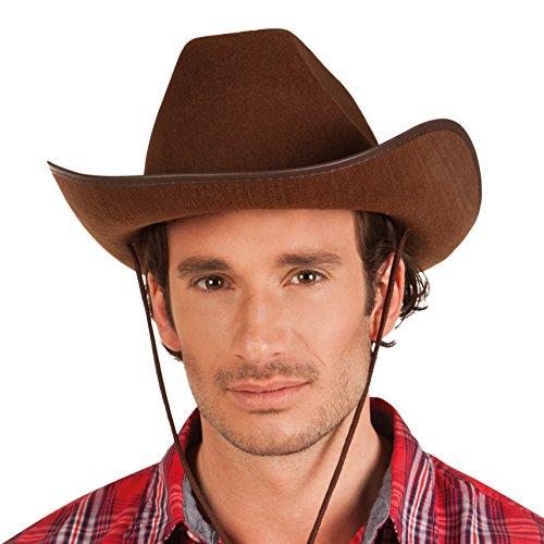 Boland 04097 - Cowboyhut für Erwachsene, Braun, Kunstleder, Ranger, Westernhut, wilder Westen, Kopfbedeckung, Accessoire, Motto Party, Karneval
