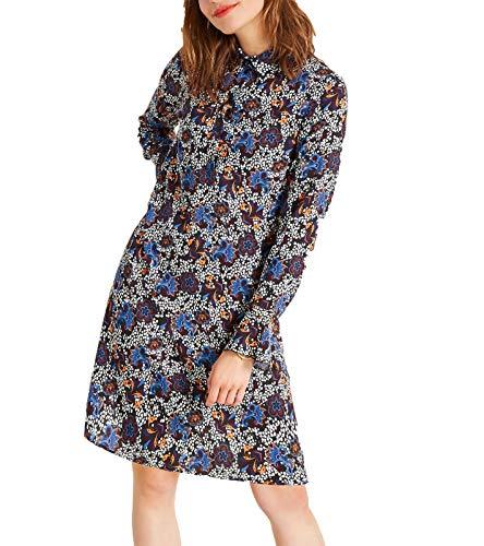 Heine Kleid Druck-Kleid Verspieltes Midi-Kleid für Damen mit Volant Große Größen Sommer-Kleid Ausgeh-Kleid Bunt, Größe:48